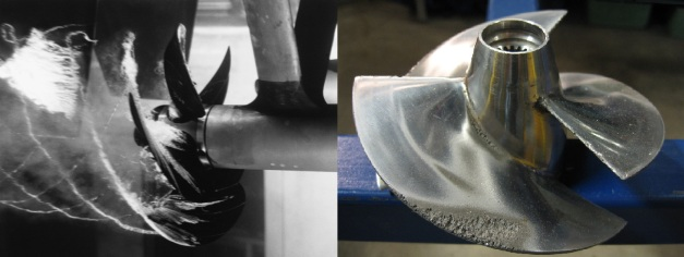 Cavitation within the slipstream of a marine propeller; Pitting cavitation damage. Photo Credit: Wikipedia.org (2)