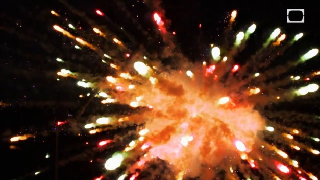 Screenshot from the video in the last fireworks post showing particulate jets after explosion of the firework's shell. Photo Credit: Discovery Channel
