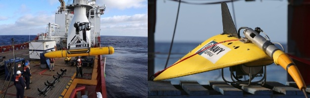 U.S. Navy Bluefin-21 drone (left) and TPL-25 (Towed Pinger Locator). Photo Credit: wsj.net; telegraph.co.uk