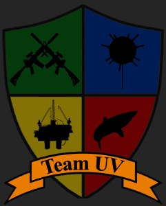 Team UV Badge, representing our principal application (ISR), and our potential future applications (Mine Detection, Underwater Inspection, and Exploration).