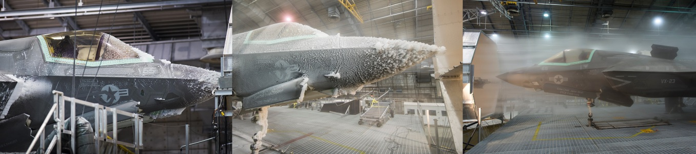F-35 undergoing icing tests. Photo Credit: AF.mil (Left), globalaviationreport.com (Middle, Right)